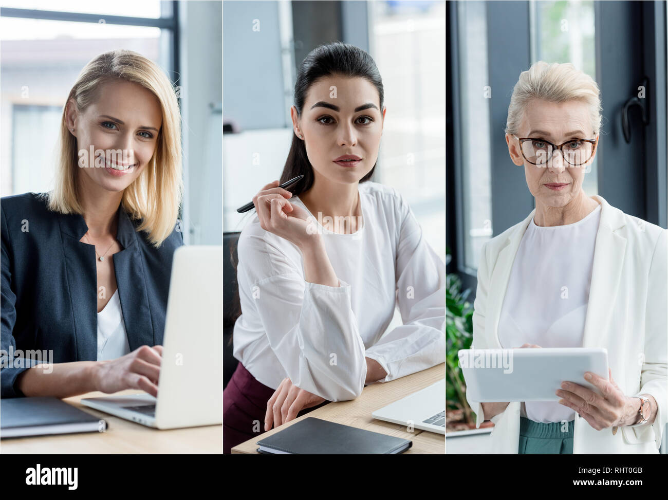 collage of different age businesswomen using gadgets at workplace in office - Stock Image