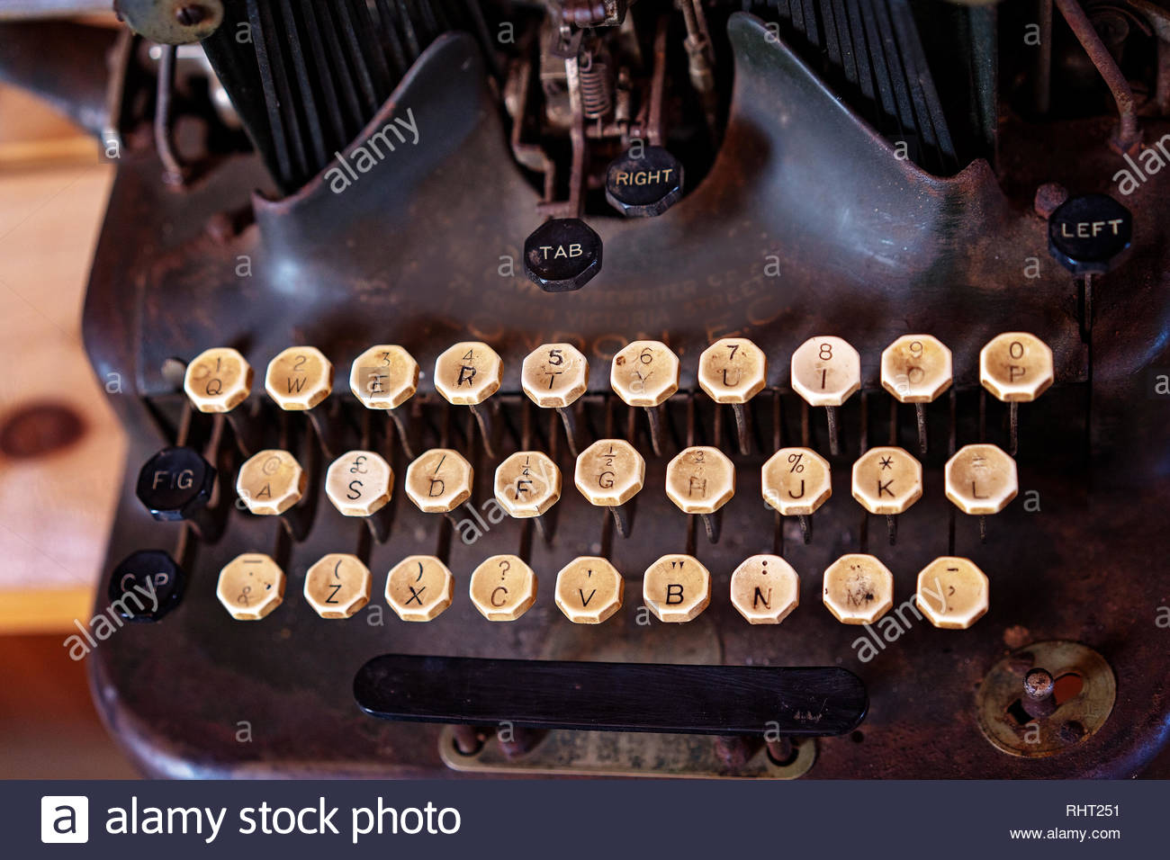 Close up of the well used keys of a vintage typewriter Stock Photo