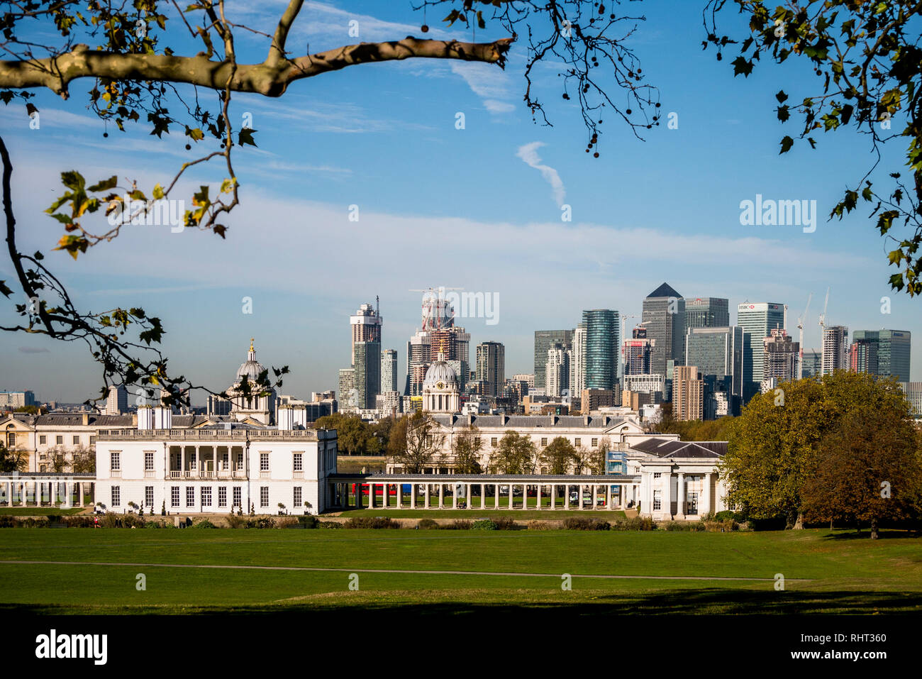 Panorma of London seen from Greenwich Royal Park - Stock Image