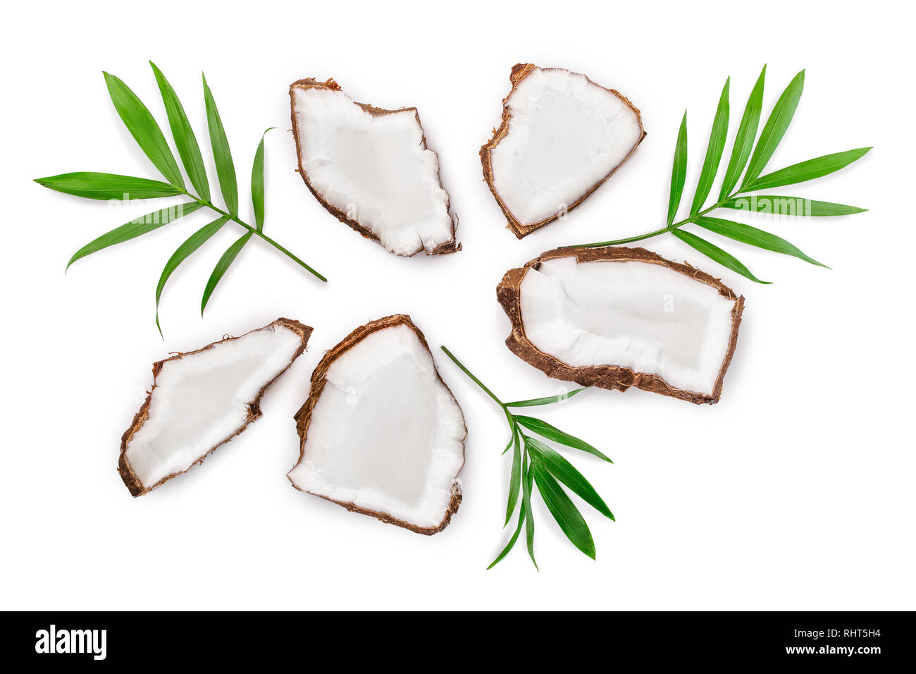 piece of coconut with leaves isolated on white background. Top view. Flat lay - Stock Image