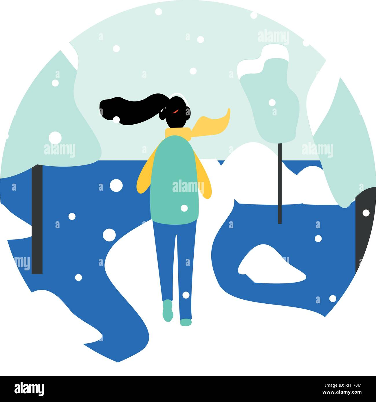 Winter running concept - young pretty woman in warm clothes jogging in snow covered park, flat cartoon vector illustration on white background. Winter - Stock Vector