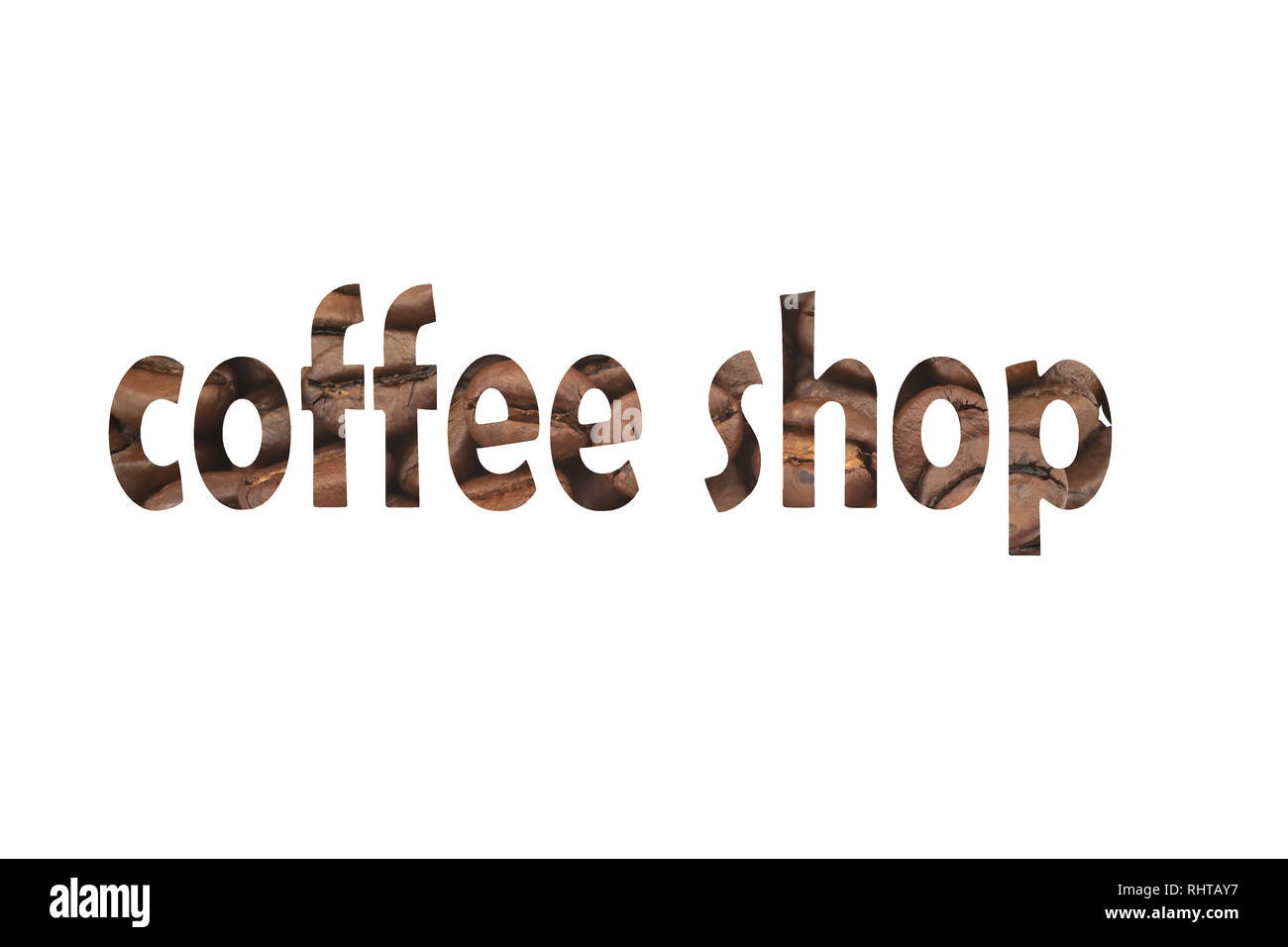 Image with coffee beans and cut out word Coffee shop Stock Photo