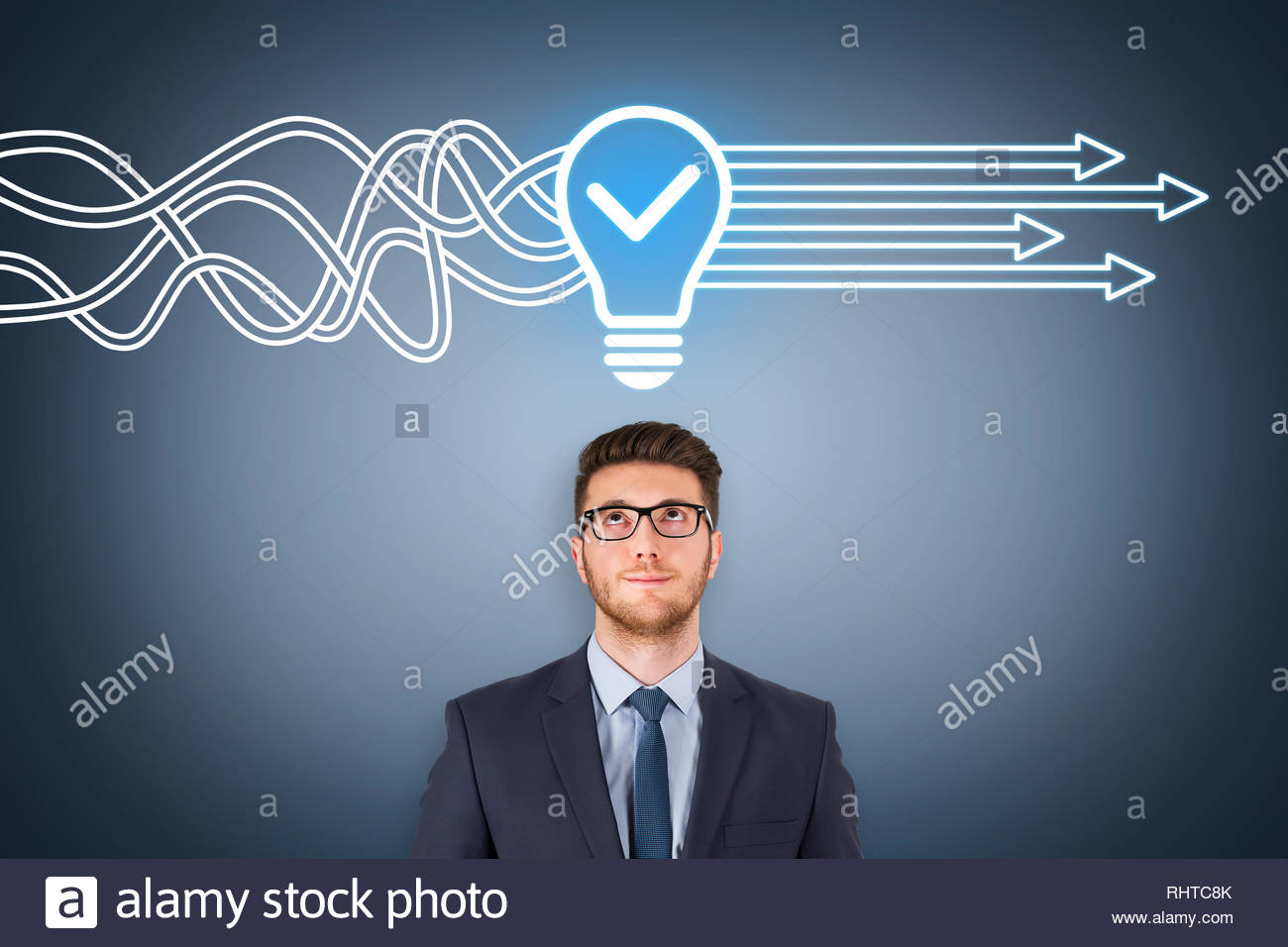 Idea solution concepts on visual screen Stock Photo