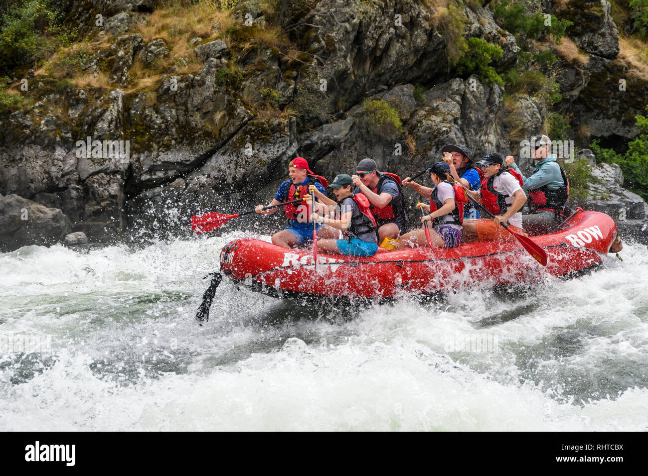 Whitewater rafting on the Snake River in Hells Canyon with ROW Adventures. - Stock Image