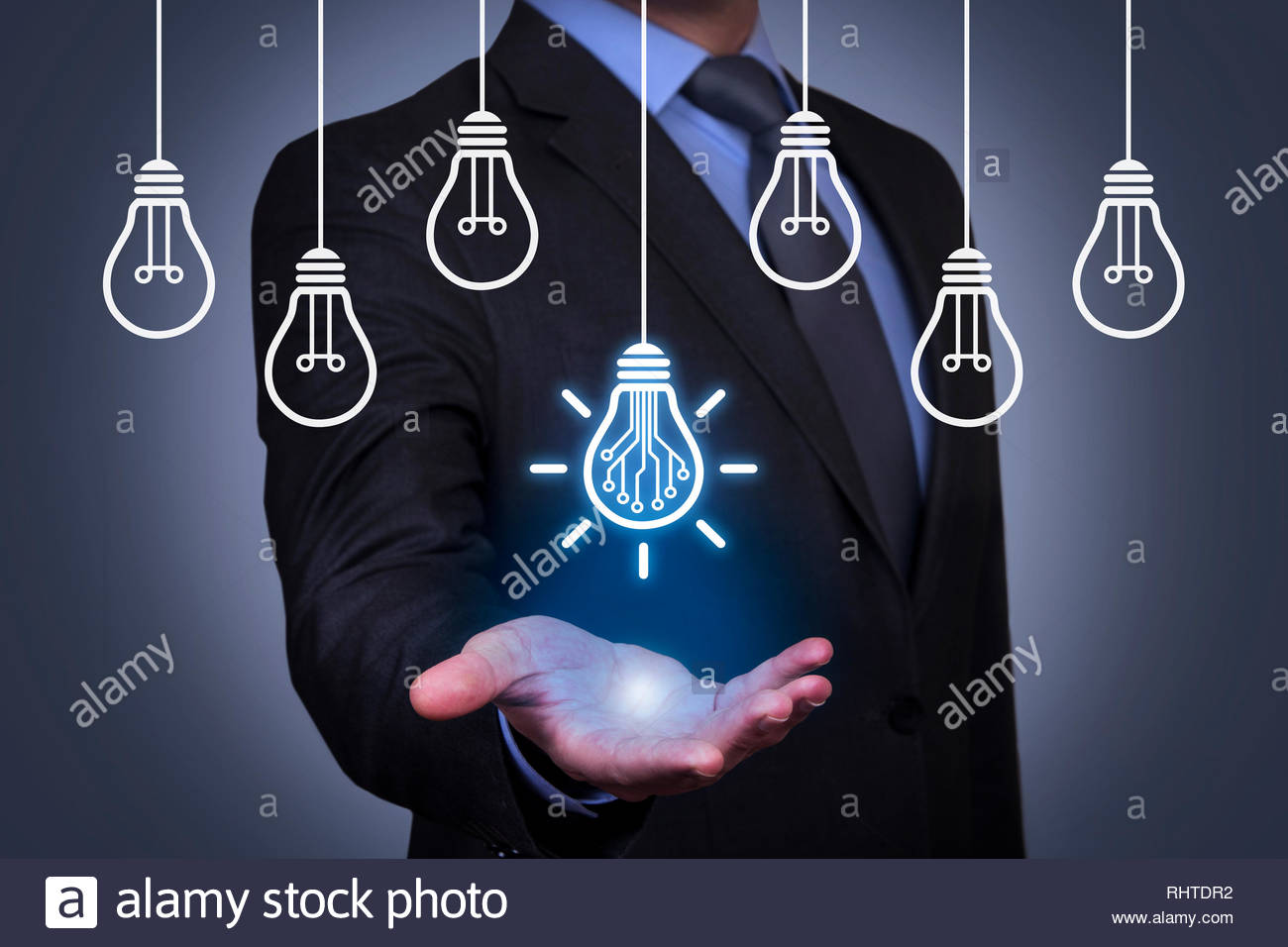 Innovation Concepts with Light Bulb on Visual Screen Stock Photo