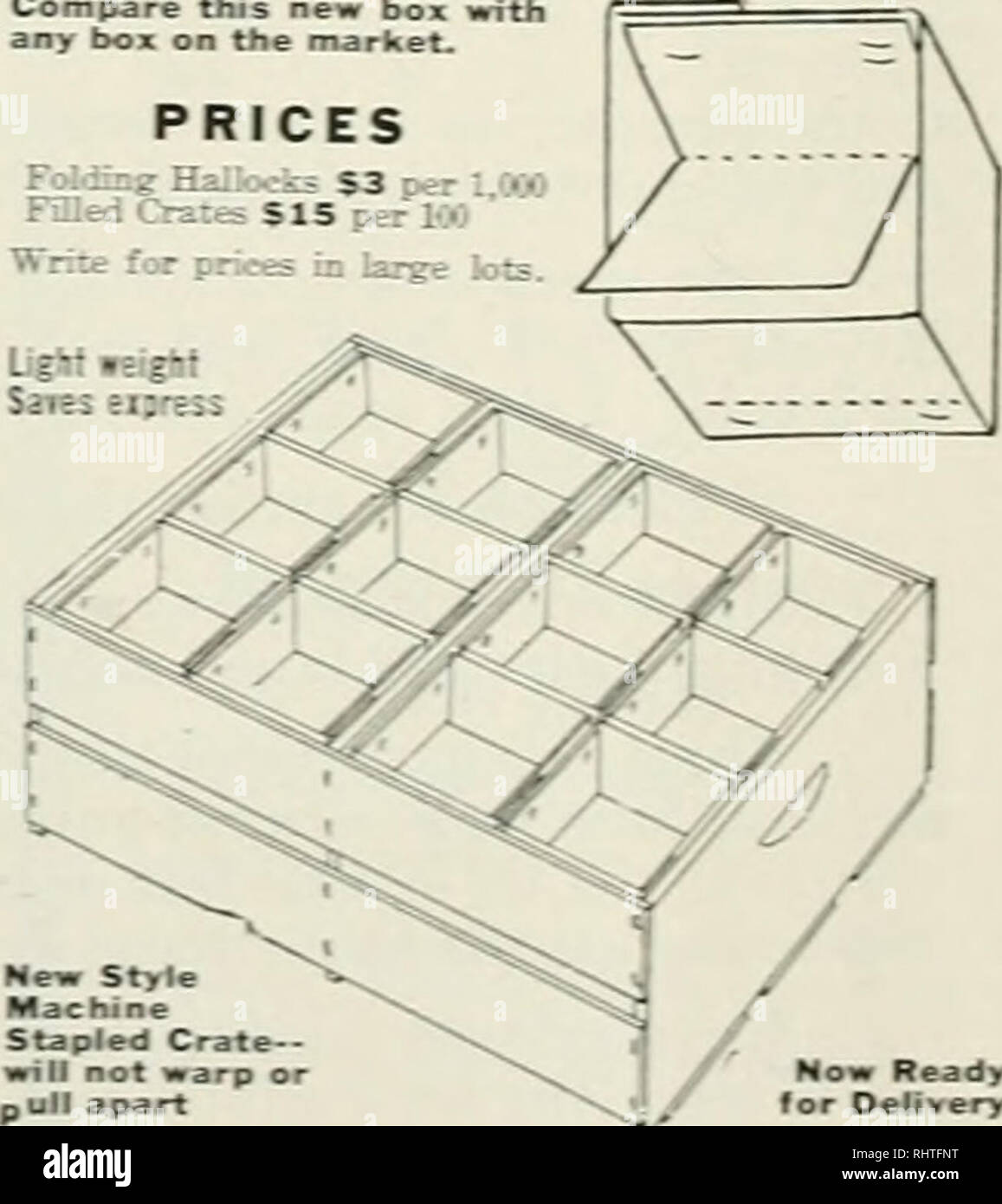 . Better fruit. Fruit-culture. BERRY BOXESand CRATES IMPROVED ONE-PIECE FOLDING TOP STITCHING ihe oce-pieee boctom makesrthe boT '-' - y. 'So loss frxxn misfits and breakage ^ - Tj^c. and the bottoinneviK'drops oat. Compare this new box with any box on the market. PRICES Feeding Hailooks S3 oer ' '••-. Fmed Crates $15 per KO Write for [K^ees in large lots.. Now Ready for Delivery lItl:4iR^^i >Seedco:. Please note that these images are extracted from scanned page images that may have been digitally enhanced for readability - coloration and appearance of these illustrations may not perfectly - Stock Image
