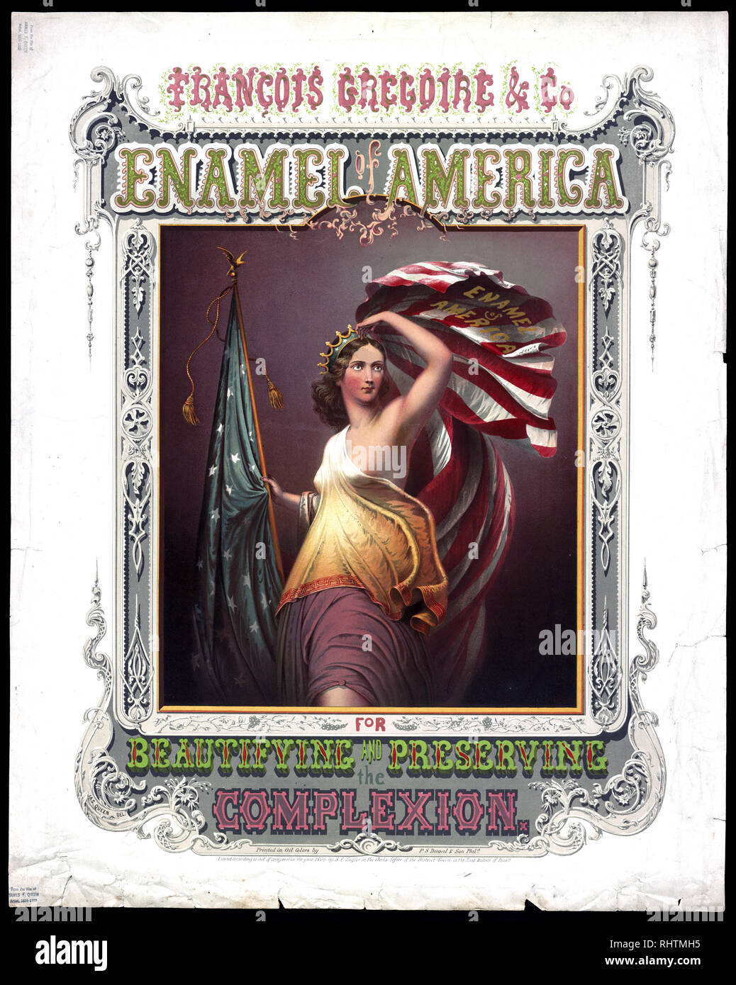 Print shows an advertising broadsheet for 'François Gregoire & Co.', with a female figure as Columbia holding an American Flag that is labeled 'Enamel of America'. - Stock Image