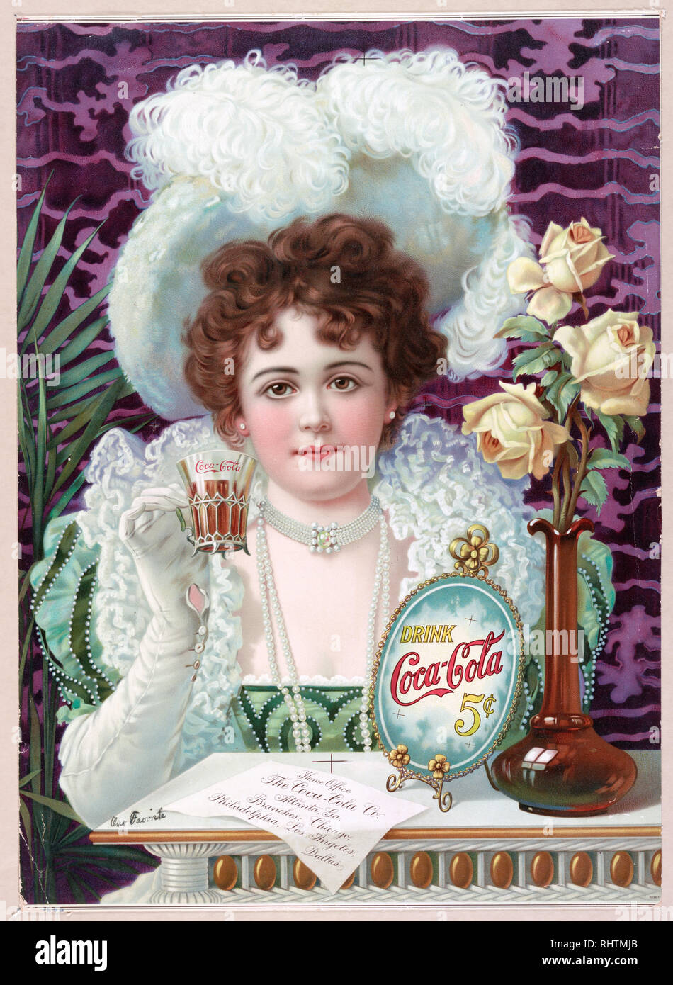 Print shows a well dressed young woman, wearing hat, white gloves, and pearls, holding up a glass of Coca-Cola, seated at a table on which is a vase of roses, the 'Drink Coca-Cola' sign, and a paper giving the location of the 'Home Office [of the] Coca-Cola Co.' as well as branch locations. - Stock Image