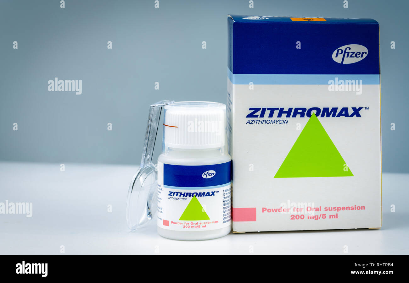 CHONBURI, THAILAND-AUGUST 3, 2018 : Zithromax powder for oral suspension 200 mg/5 ml. Azithromycin product of Pfizer. Manufactured by Haupt Pharma Lat - Stock Image