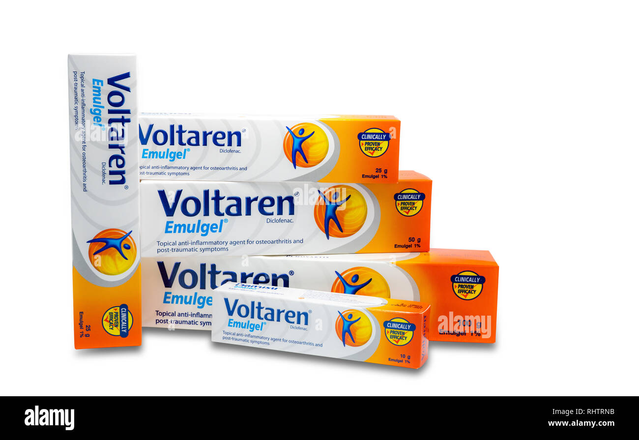 CHONBURI, THAILAND-AUGUST 9, 2018 : Voltaren Emulgel. 1% diclofenac gel for topical anti-inflammatory, osteoarthritis, post-traumatic symptoms. Produc - Stock Image