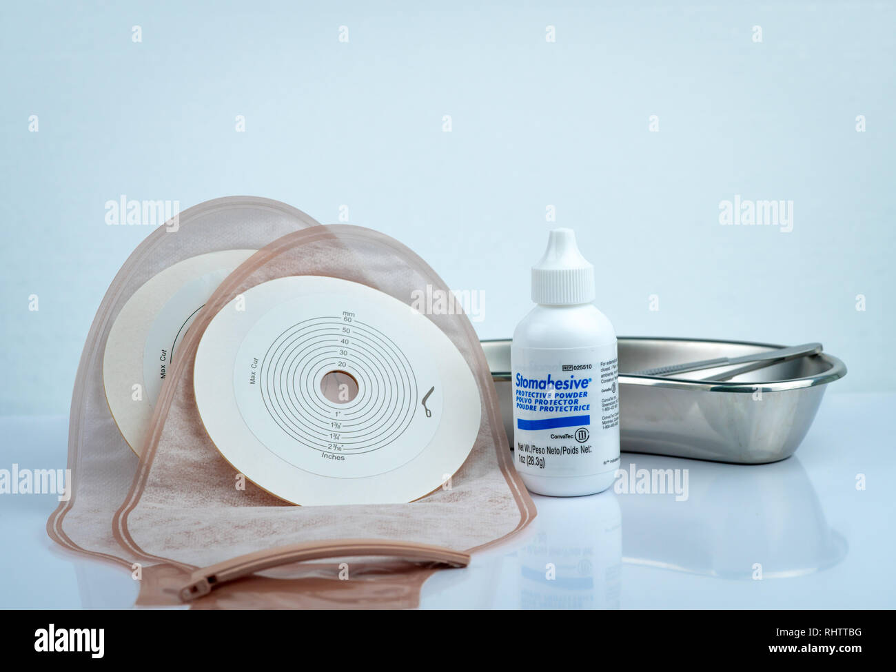 CHONBURI, THAILAND-AUGUST 3, 2018 : Stomahesive protective powder. Stomahesive product of Convatec. Stoma care products and one piece drainable ileost - Stock Image