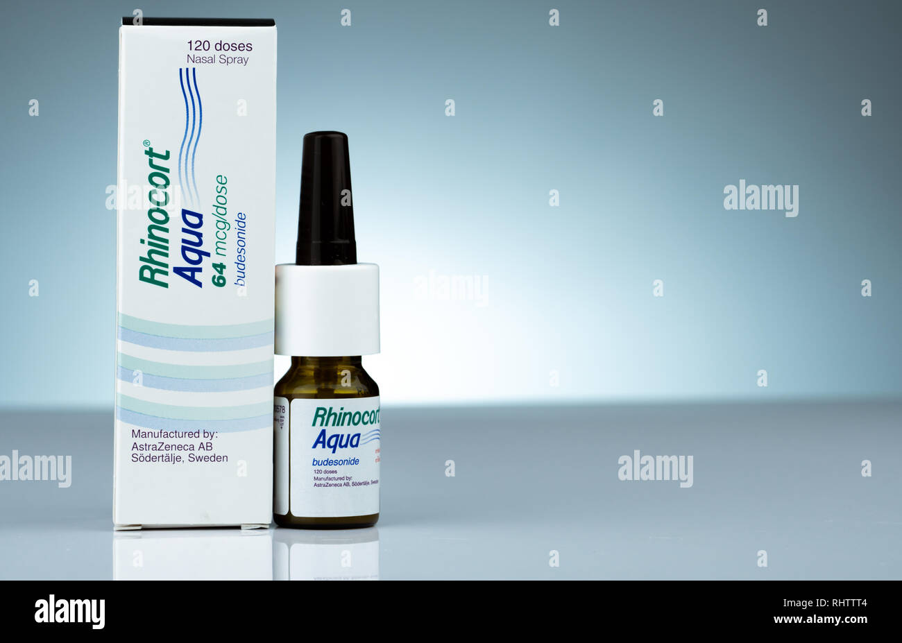 CHONBURI, THAILAND-OCTOBER 17, 2018 : Rhinocort Aqua 64 mcg/dose 120 doses. Budesonide nasal spray product of Johnson & Johnson (Thailand). Manufactur - Stock Image