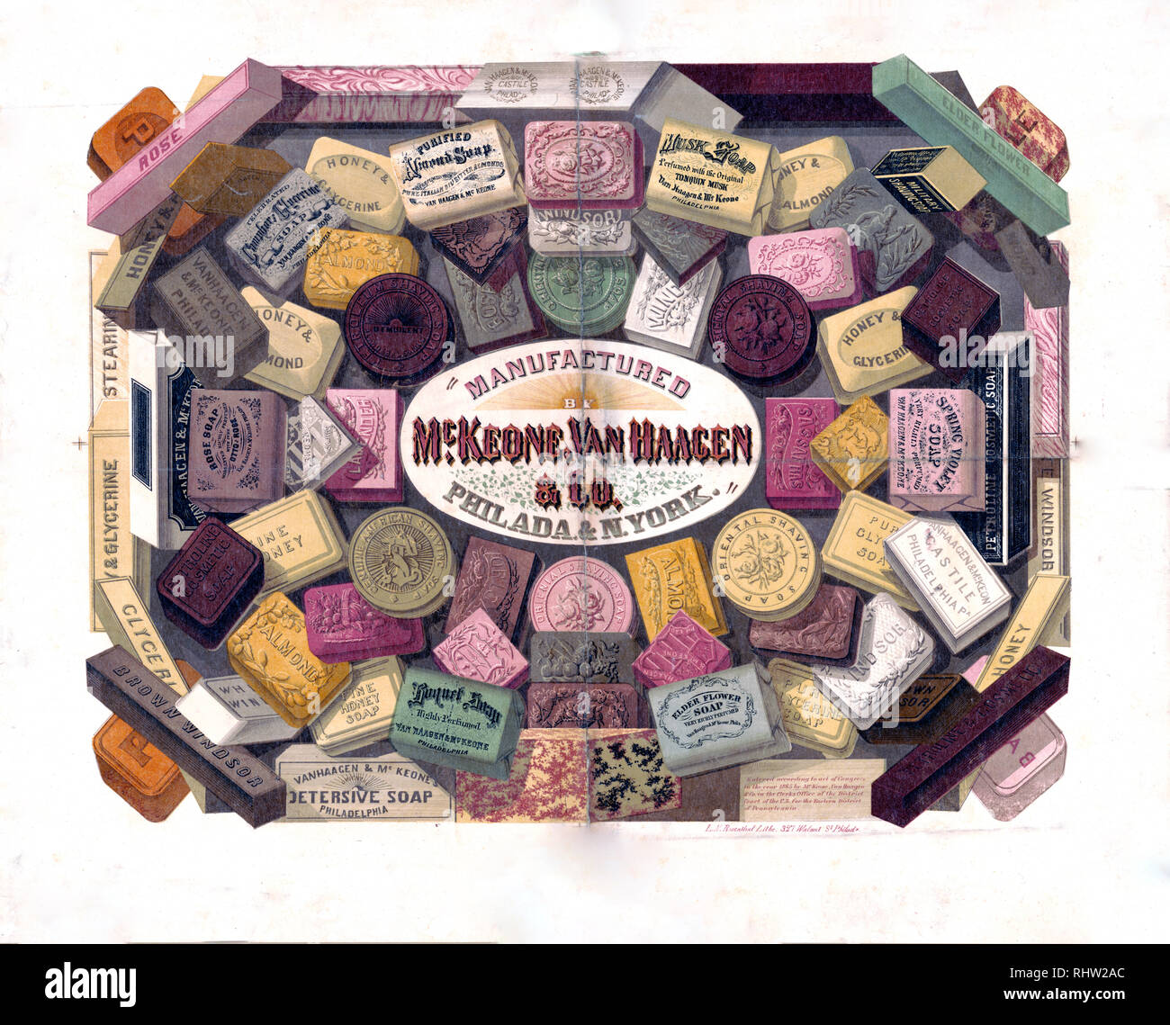 Print shows a variety of bath soaps. - Stock Image
