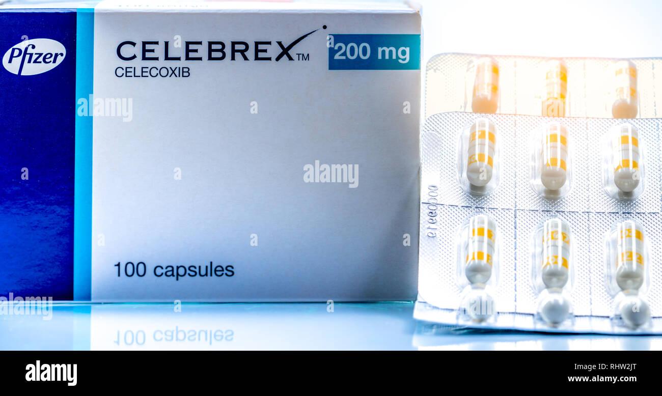 CHONBURI, THAILAND-JUNE 2, 2018 : Celebrex 200 mg capsules. Celecoxib product of Pfizer Pharmaceuticals in Thailand. Painkiller medicine. White opaque - Stock Image