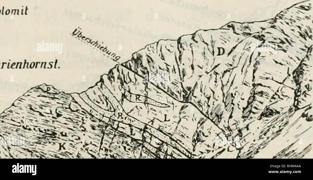 . Berichte der Naturforschenden Gesellschaft zu Freiburg i. Br. Science. 257] Geologische Untersuchungen im Plessurgebirge um Arosa. 43 zur Ãrosaer FurJca absteigend fast ausschliesslich auf Kössner Schichten. Haben wir dieses schwarze Band im Aufstiege getjuert, so be- gegnen wir wieder einer wenig mächtigen Schicht oberer Rauh- im. sw D â Haupidolomil K â Kössner L Lias R RaÃwlarienhornsl. /[ >^ »//^^ ,^j^ 'â ' ^^ Oslgtpfel des ParpanerWetsshornes. Fig. 14. Ansicht der beiden Schuppen des Parpaner Weisshornes. Besonders schön sichtbar sind die linsenförmigen isolierten Partien des R Stock Photo