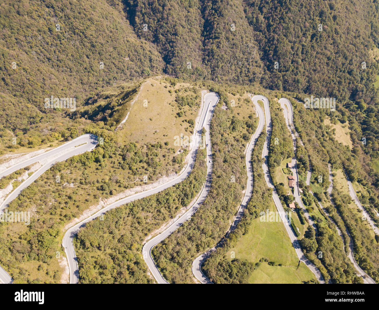 Drone Aerial View Of The Mountain Road In Italy From The Village Of Nembro To Selvino Amazing Aerial View Of The Mountain Bends Creating Beautiful Sh Stock Photo Alamy