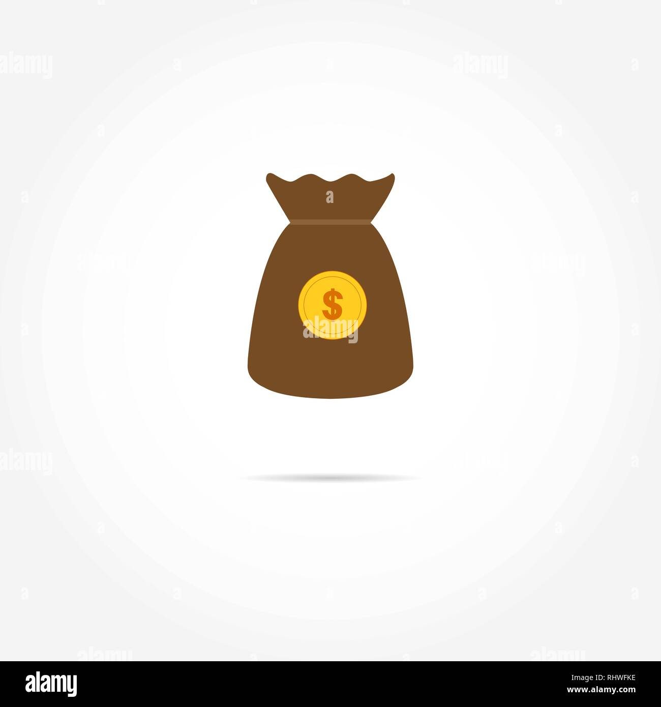 bag with the image of a coin with a dollar symbol - Stock Vector