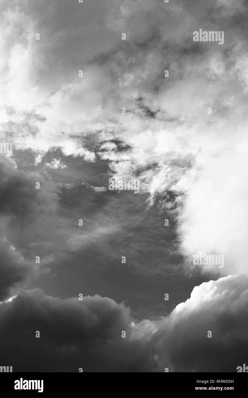 Cloudy black and white sky artistic wallpaper. background - Stock Image