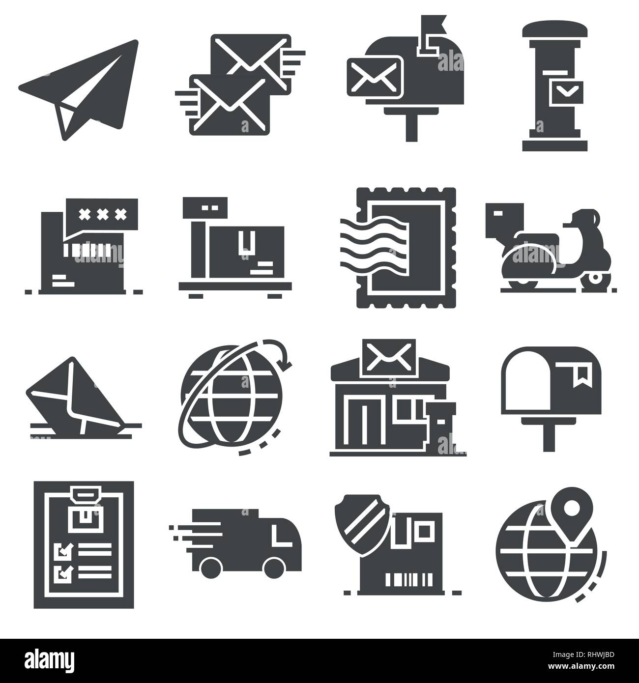 Postal service set of gray icons on white background - Stock Vector