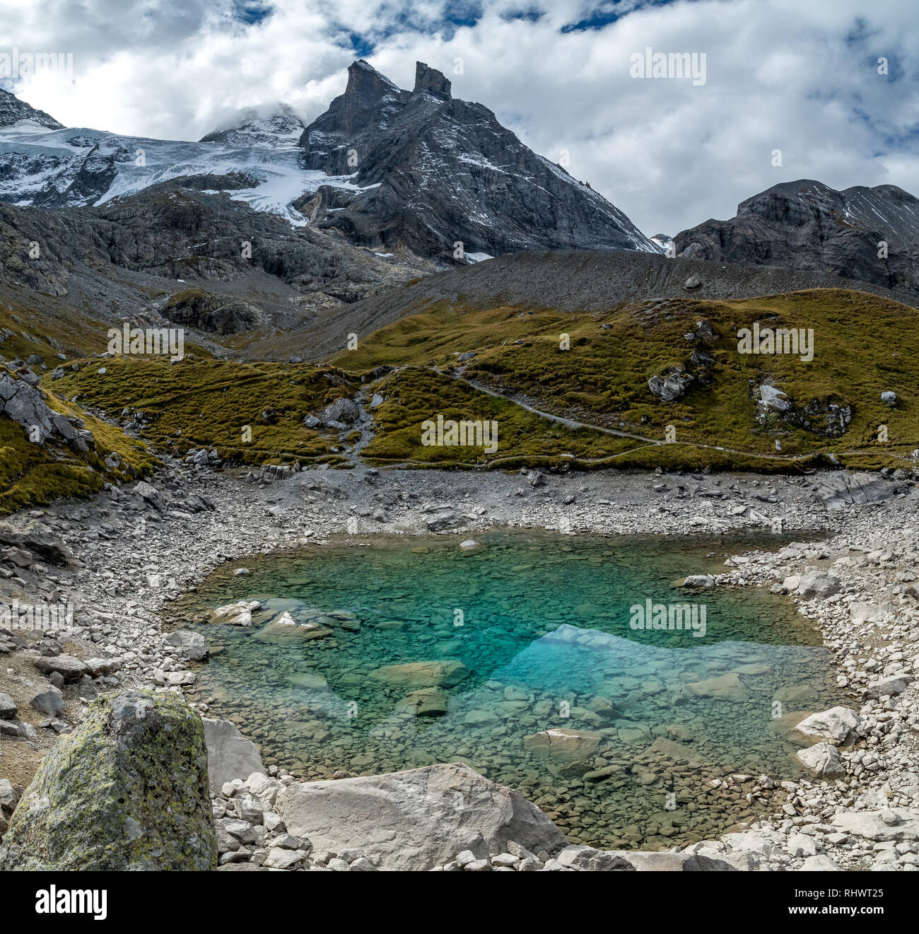 Oberhornsee is a remote mountain lake in the remote and wild end of Lauterbrunnen Valley - Stock Image