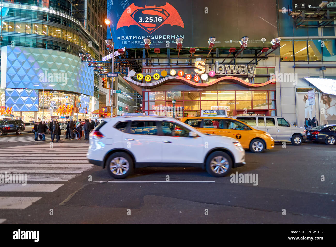 NEW YORK - CIRCA MARCH 2016: New York City at night. The City of New York, often called New York City or simply New York, is the most populous city in - Stock Image