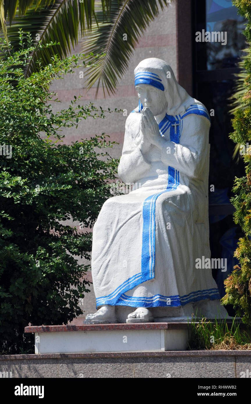 Statue of Saint (Mother) Teresa outside St Paul's Roman Catholic Cathedral. Tirana, Albania, Europe. Stock Photo