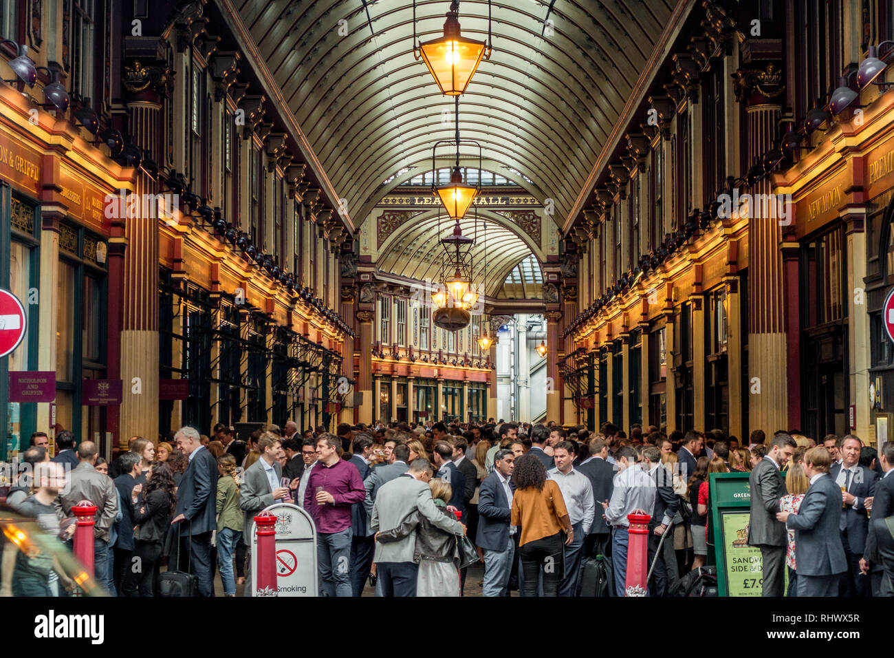 Leadenhall Market in Central London on a busy friday evening - Stock Image