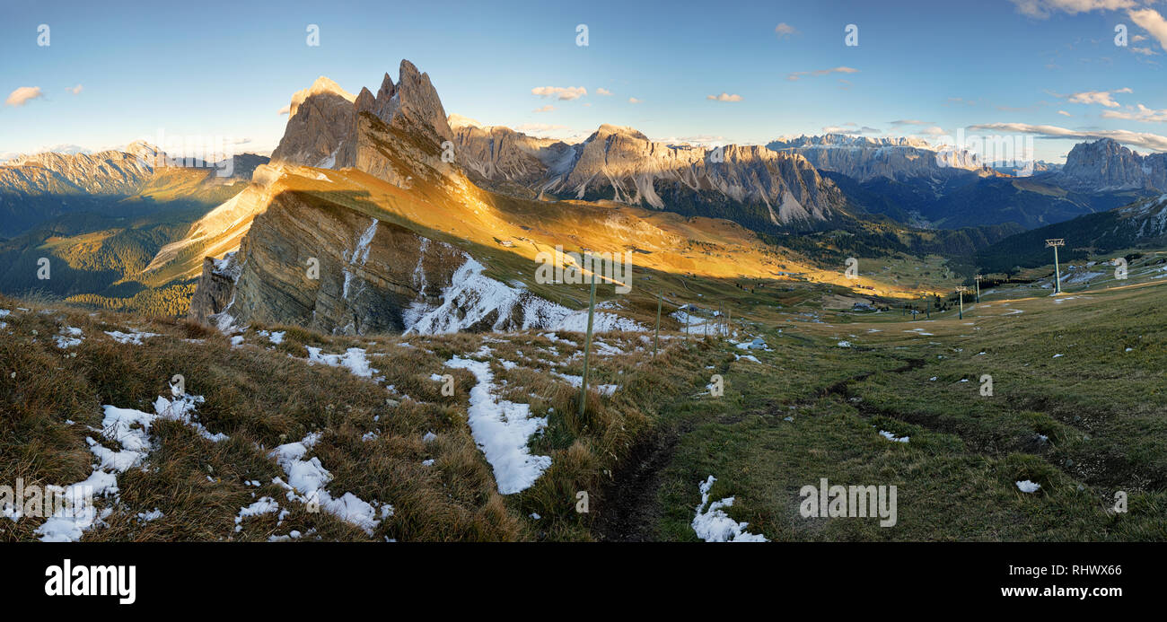 Meadow on Seceda plateau in Val Gardena, Italy, Europe Stock Photo