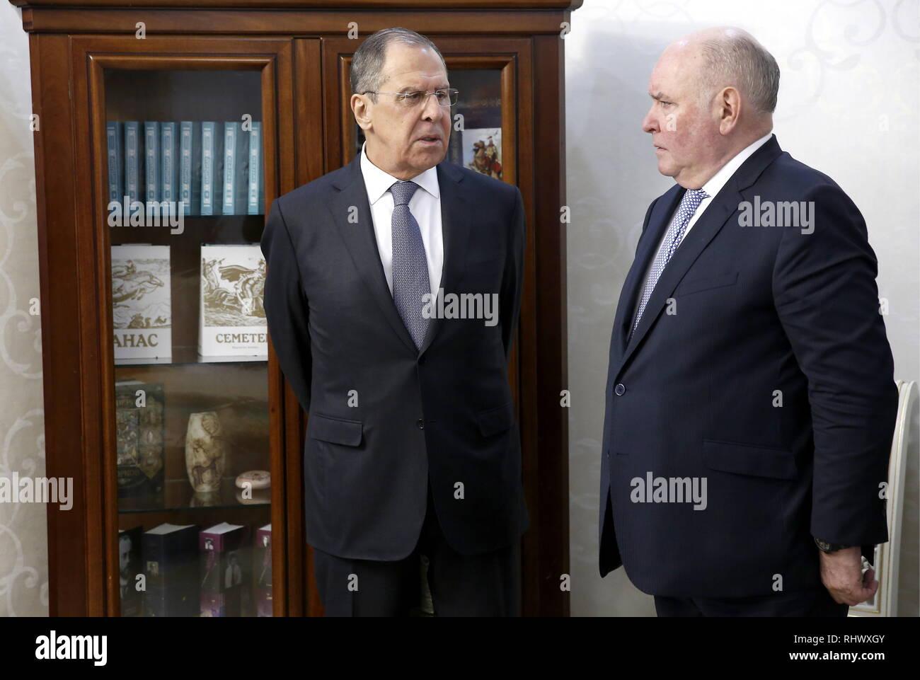 Bishkek, Kyrgyzstan. 04th Feb, 2019. BISHKEK, KYRGYZSTAN - FEBRUARY 4, 2019: Russia's Foreign Minister Sergei Lavrov (L) and his deputy Grigory Karasin ahead of a meeting with Kyrgyzstan's President Sooronbay Jeenbekov. Alexander Shcherbak/TASS Credit: ITAR-TASS News Agency/Alamy Live News - Stock Image