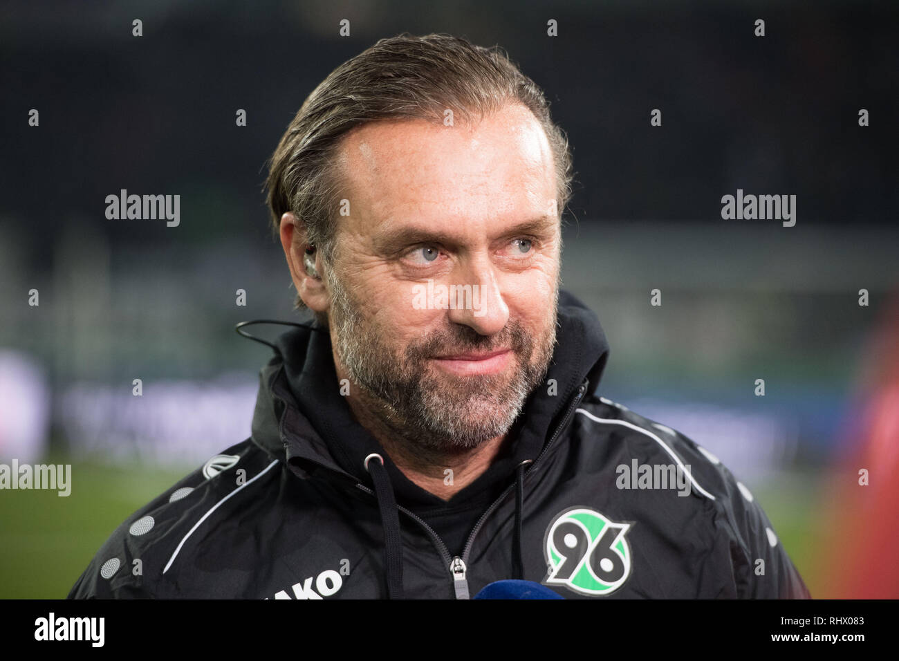 Hanover, Deutschland. 01st Feb, 2019. Thomas DOLL (coach, H) in an interview, TV, TV, half-length, football 1. Bundesliga, 20th matchday, Hanover 96 (H) - RB Leipzig (L), on 01.02.2019 in Hannover/Germany. ¬ | usage worldwide Credit: dpa/Alamy Live News - Stock Image