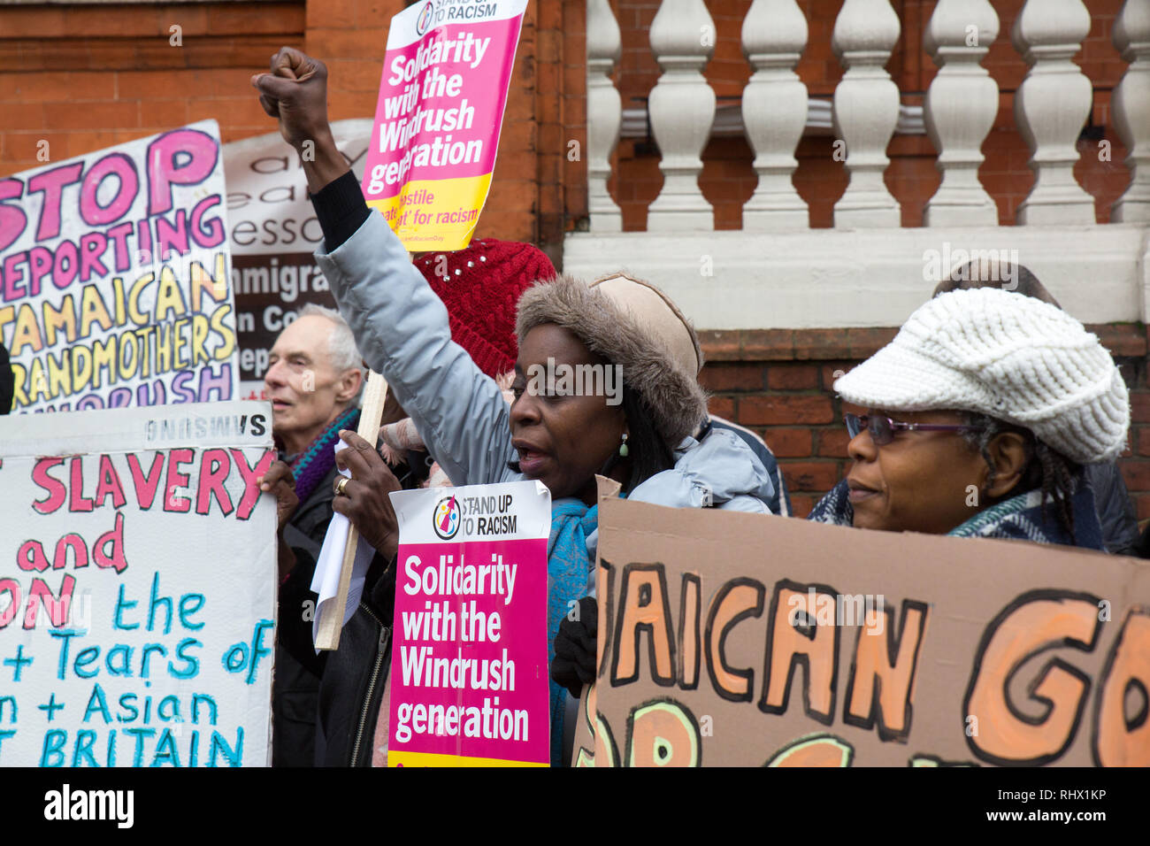 London, UK. 4th Feb, 2019. Protesters assemble outside the Jamaican High Commision to protest against the deportation of British Jamaican's via charter flights . Credit: George Cracknell Wright/Alamy Live News - Stock Image