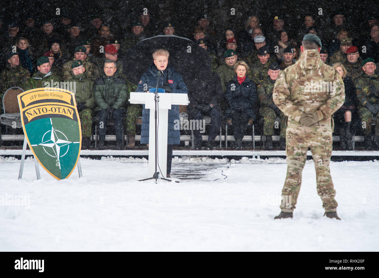 Rukla, Lithuania. 04th Feb, 2019. Dalia Grybauskaite, President of the Republic of Lithuania, speaks at the handover appeal in the barracks. The new commander is Bundeswehr Lieutenant Colonel Papenbroock. Credit: Arne Bänsch/dpa/Alamy Live News - Stock Image