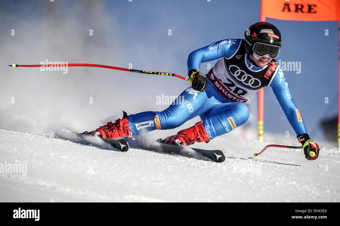 Are, Sweden. 04th Feb, 2019. Alpine skiing, World Cup, training, downhill, ladies. Nicol Delago from Italy in action on the race track. Credit: Michael Kappeler/dpa/Alamy Live News - Stock Image