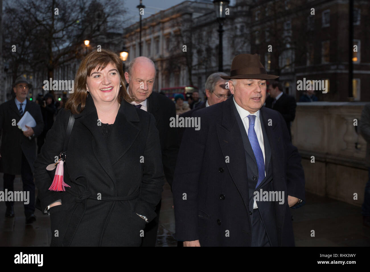 London, UK. 4th Feb, 2019. Nicky Morgan MP, Damian Green MP and Iain Duncan Smith MP leave the Cabinet Office after a meeting . Credit: George Cracknell Wright/Alamy Live News - Stock Image