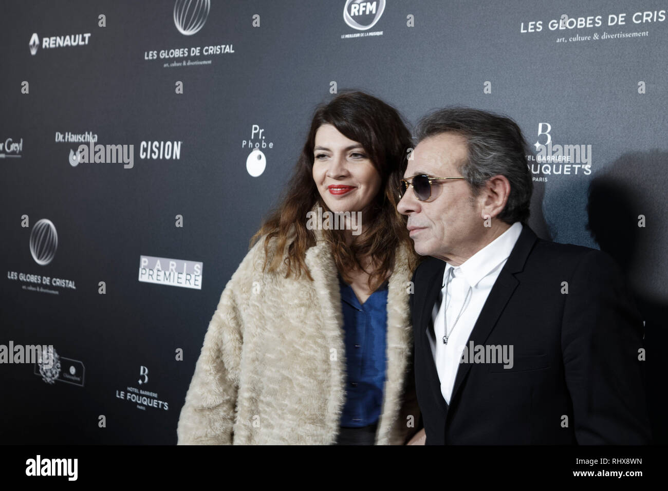 Paris, France. 4th Feb, 2019. Candice de La Richardière and Philippe Manœuvre attend the 14th Crystal Globes Ceremony at Salle Wagram on February 4, 2019 in Paris, France. Credit: Bernard Menigault/Alamy Live News - Stock Image