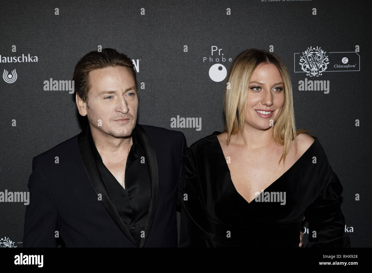 Paris, France. 4th Feb, 2019. Benoît Magimel and Margot Pelletier attend the 14th Crystal Globes Ceremony at Salle Wagram on February 4, 2019 in Paris, France. Credit: Bernard Menigault/Alamy Live News - Stock Image