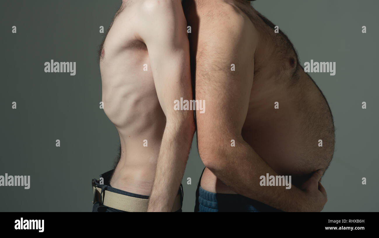 Fit and fatty. Fat and slim male torsos. Flat and big bellies. Healthy and unhealthy. Diet and over nutrition. Fitness and overweight. Before and - Stock Image