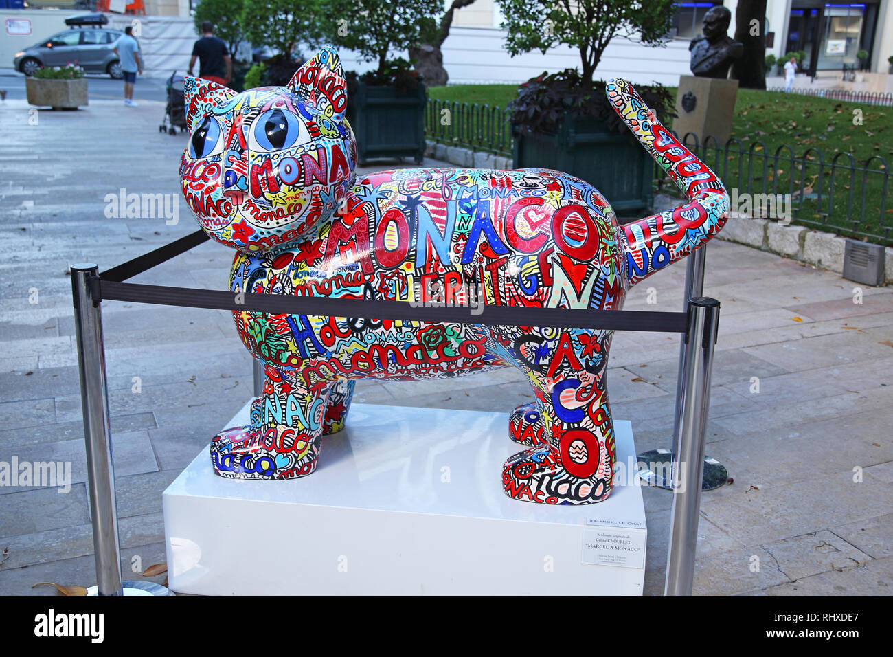 Sculpture of 'Marcel le chat' by Celine Chourlet displayed on the streets of Monaco, France - Stock Image