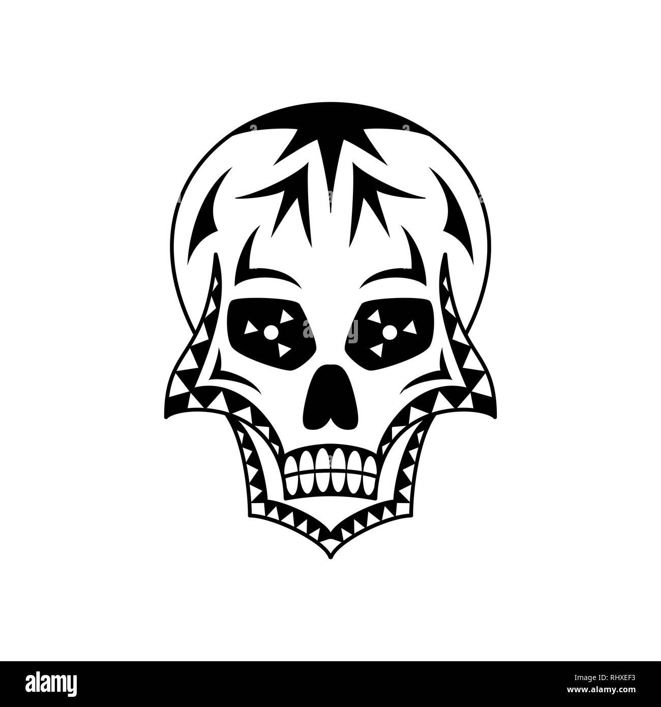 Vector sugar skull with geometric ornament. Tattoo art - Stock Vector
