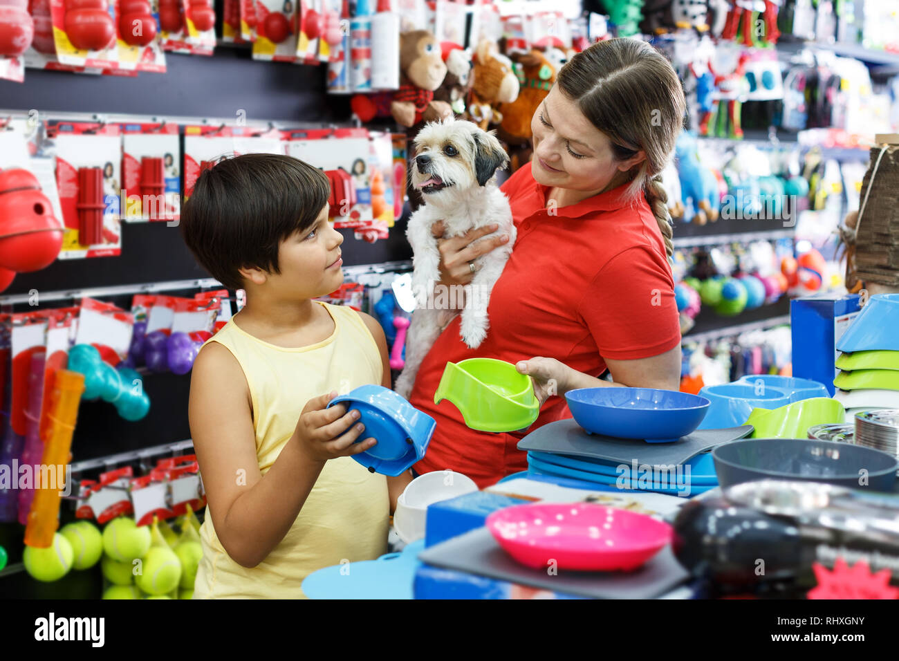 Positive woman with preteen boy choosing accessories for their puppy in pet store - Stock Image