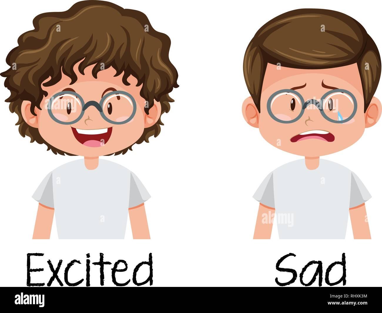 Set of boy excited and sad illustration stock image