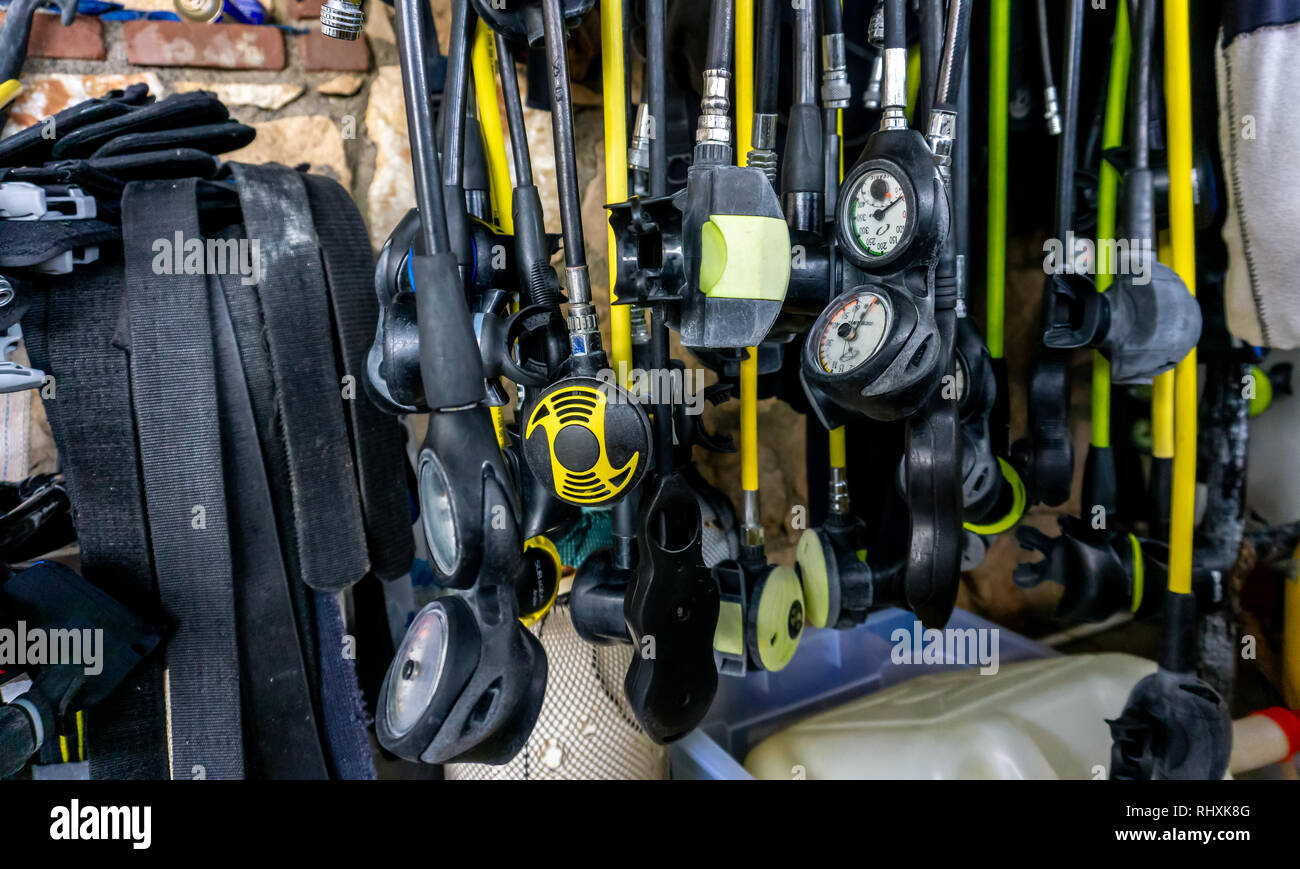 Open Water Scuba Diving Regulator parts: primary & alternate Second Stage, alternate air source, buddy regulator, or octopus, Submersible Pressure - Stock Image