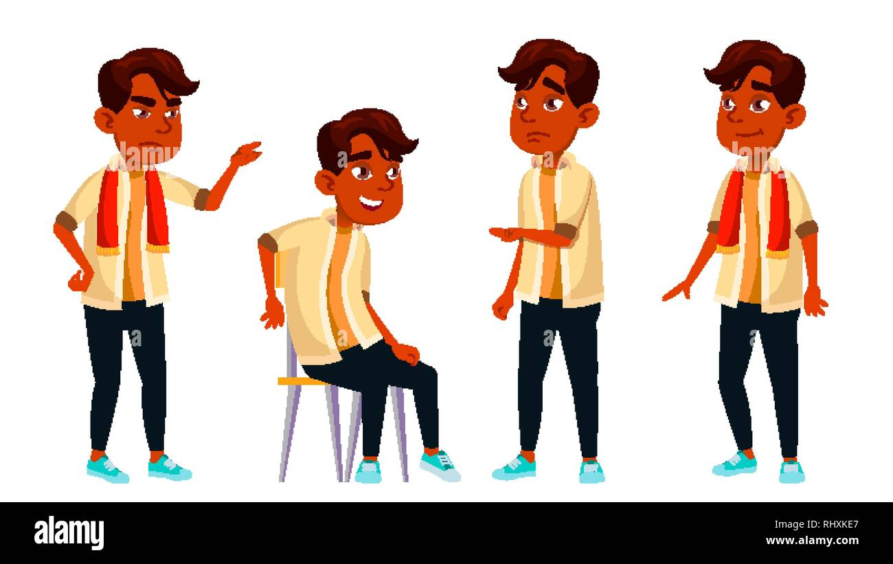 Indian Boy Schoolboy Kid Poses Set Vector. High School Child. Child Pupil. Subject, Clever, Studying. For Postcard, Announcement, Cover Design - Stock Image