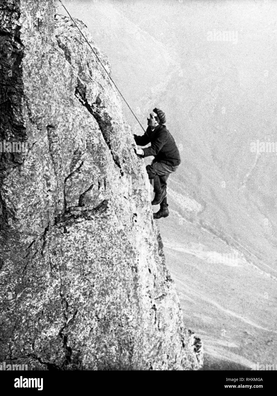 Climbing Eagle's Nest Arete, Great Gable  Lake District - Stock Image