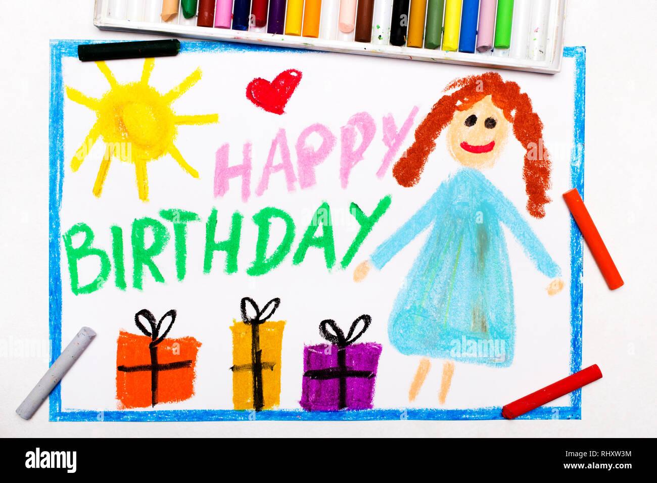 Swell Happy Birthday Wishes Colorful Background Stock Photos Happy Personalised Birthday Cards Veneteletsinfo