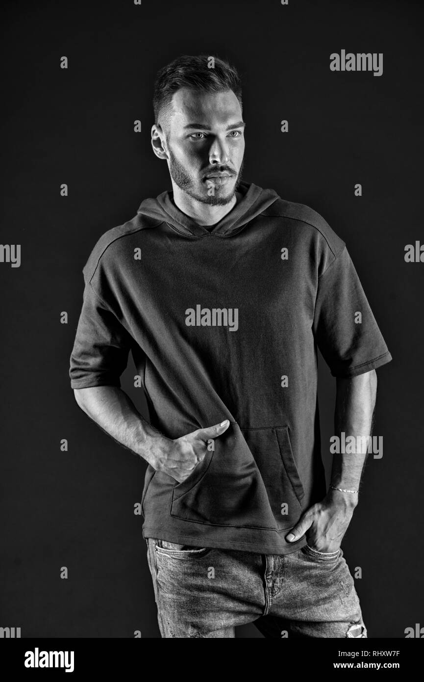 Fashionable concept. Fashionable casual. Bearded man in fashionable wear. Fashionable and trendy. Time to go, black and white. - Stock Image