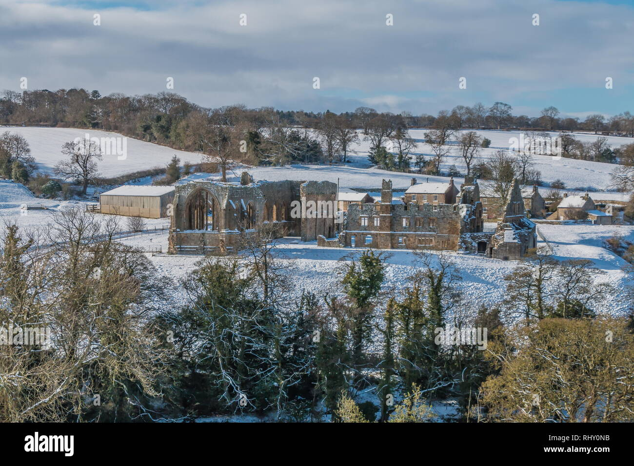 Egglestone Abbey, Barnard Castle, Teesdale in a snowy landscape and winter sunshine Stock Photo
