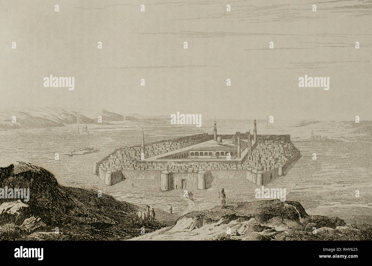 History of Arabia. Medina and tomb of the prophet. Engraving by Fleury. Panorama Universal. History of Arabia, 1851. - Stock Image