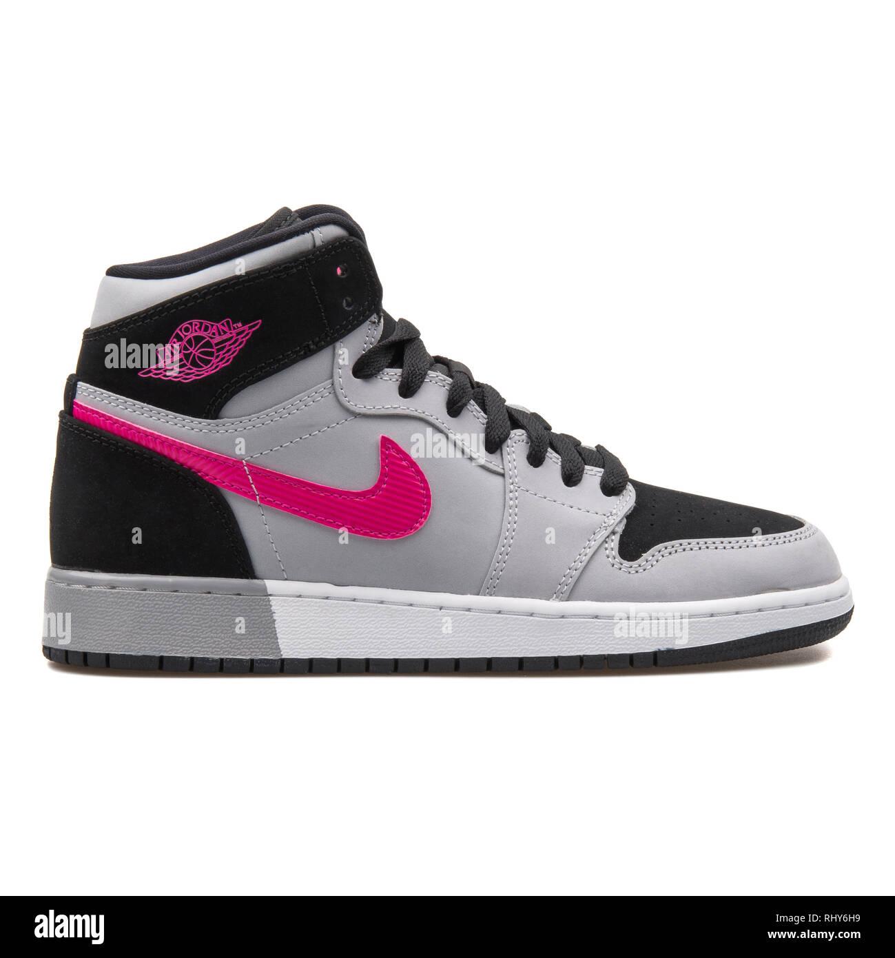 quality design 4aa63 91c04 VIENNA, AUSTRIA - AUGUST 7, 2017  Nike Air Jordan 1 Retro High GG grey,  black and pink sneaker on white background.