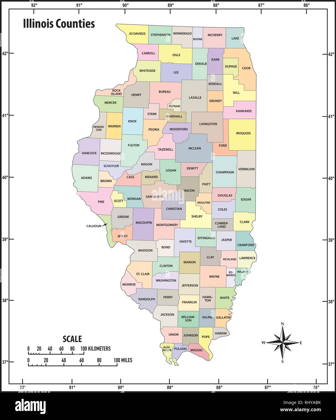 Illinois state outline administrative and political vector map in ...